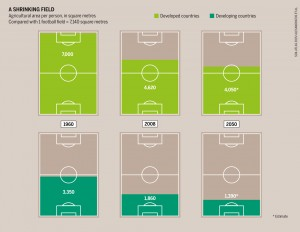(Click to zoom) Football pitches reflect the gap between rich and poor. In a just and sustainable world, each of us would have to make do with 2,000 square metres. cc. Soil Atlas 2015